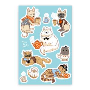 Tea Cats Sticker Sheet