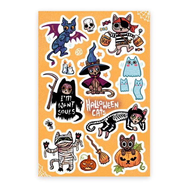 Halloween-Cats-Sticker-Sheet