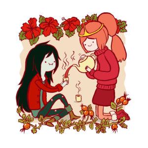Marceline and Princess Bubblegum having tea. Illustration.
